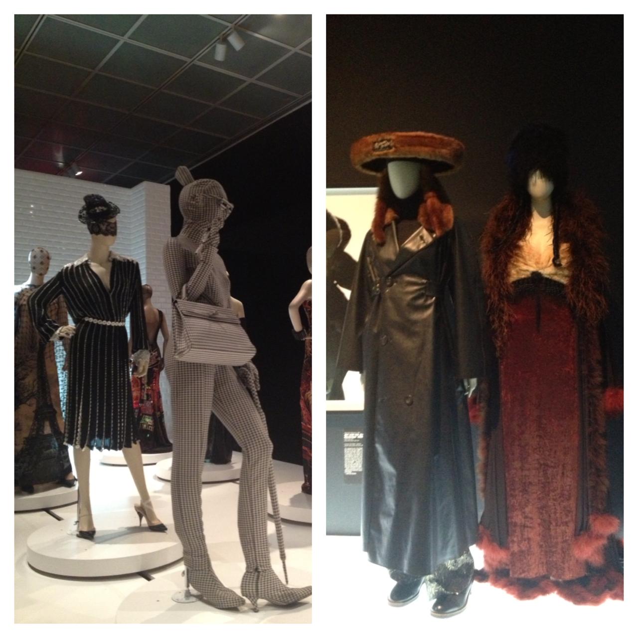 """מימין, שתי תלבושות מקולקציות """"דוס שיק"""". בכובע של התלבושת השמאלית יש תג שעליו כתוב (בעברית) ז'אן פול גוטיק."""